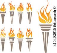 Antorcha, llamas, oro, laurel, logotipo Clipart.