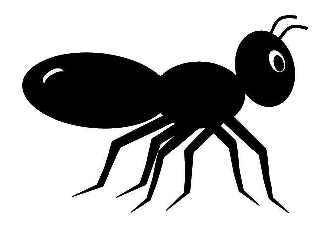 Black ant clip art, cute style lge 11cm long.