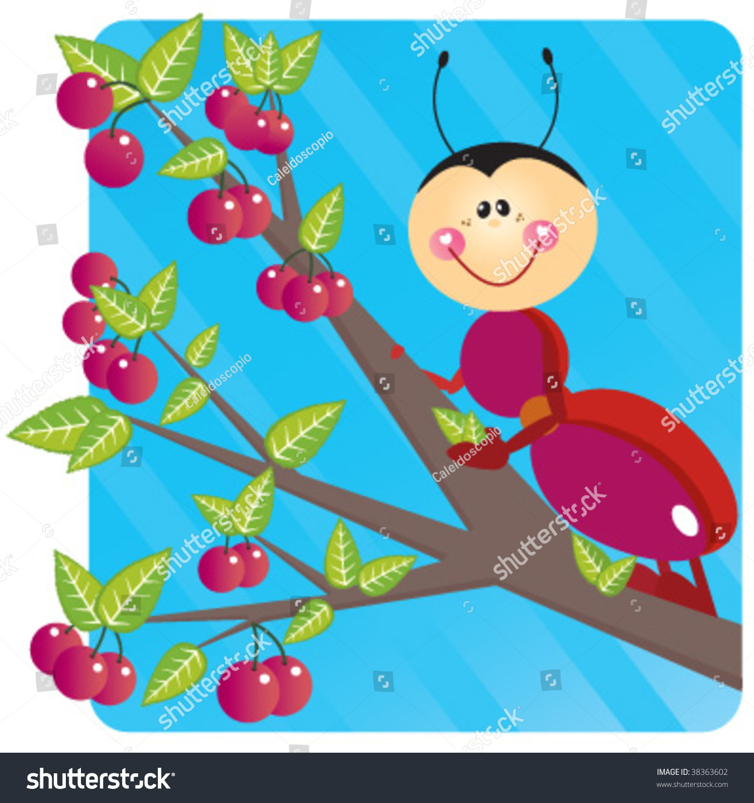 Red Ant Crawling Along Cherry Tree Stock Vector (Royalty.