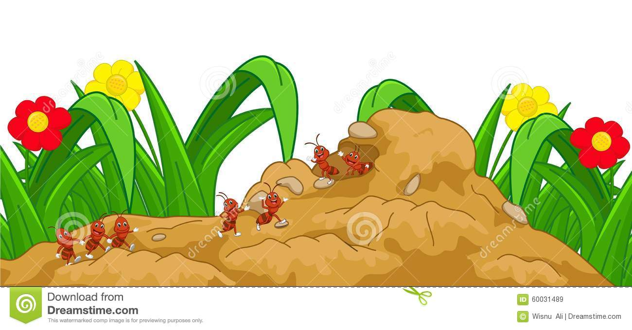 Happy Ant Cartoon In The Nest Stock Vector.
