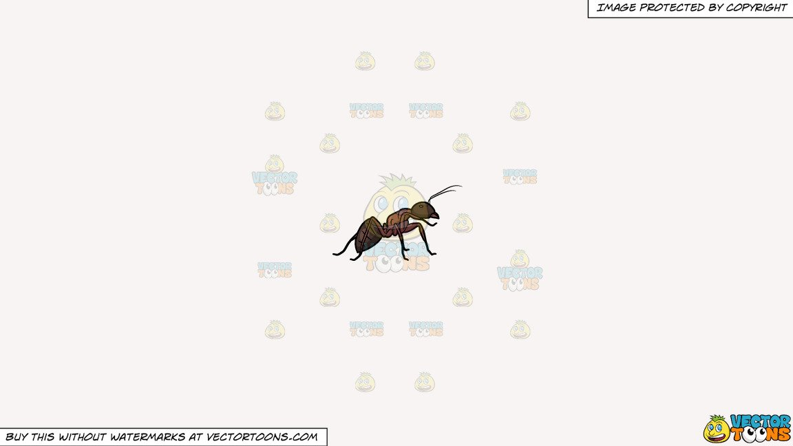 Clipart: A Stable Carpenter Ant on a Solid White Smoke F7F4F3 Background.