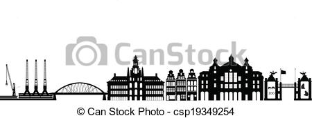 Clipart Vector of antwerp skyline with station zoo and industry.