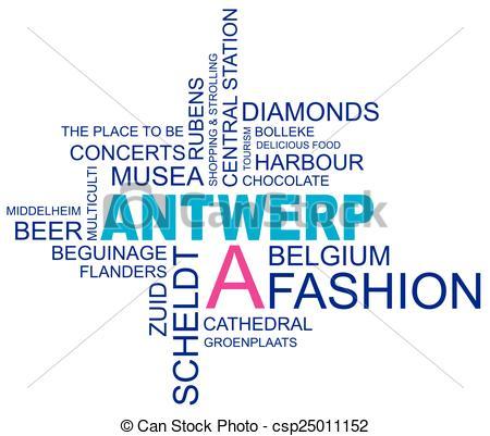 Clipart Vector of word cloud around antwerp, city in belgium.