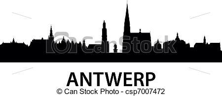 Vector Illustration of Skyline Antwerp.