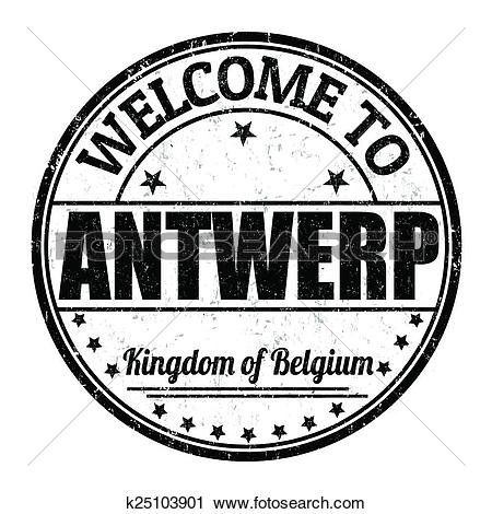 Clipart of Welcome to Antwerp stamp k25103901.