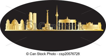 Vector Illustration of antwerp belgium city in gold.