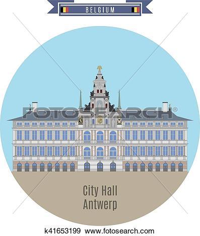 Clip Art of City Hall of Antwerp, Belgium k41653199.