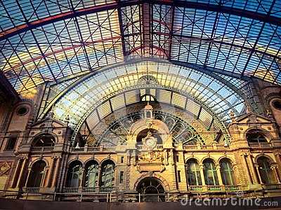 Beautiful Antwerp Central Station Belgium Stock Photos, Images.