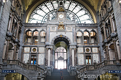 Inside Of The Antwerp Central Trainstation Editorial Stock Photo.