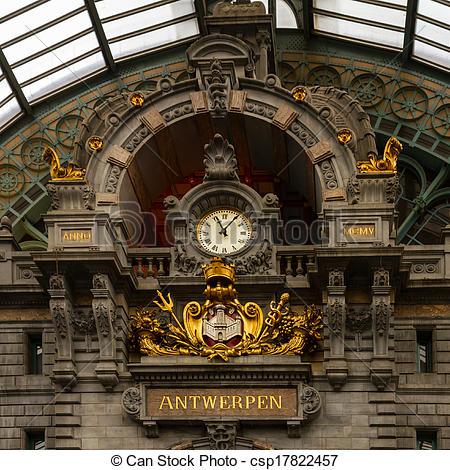 Stock Beelden van Antwerpen, station, centraal, spoorweg, Klok.