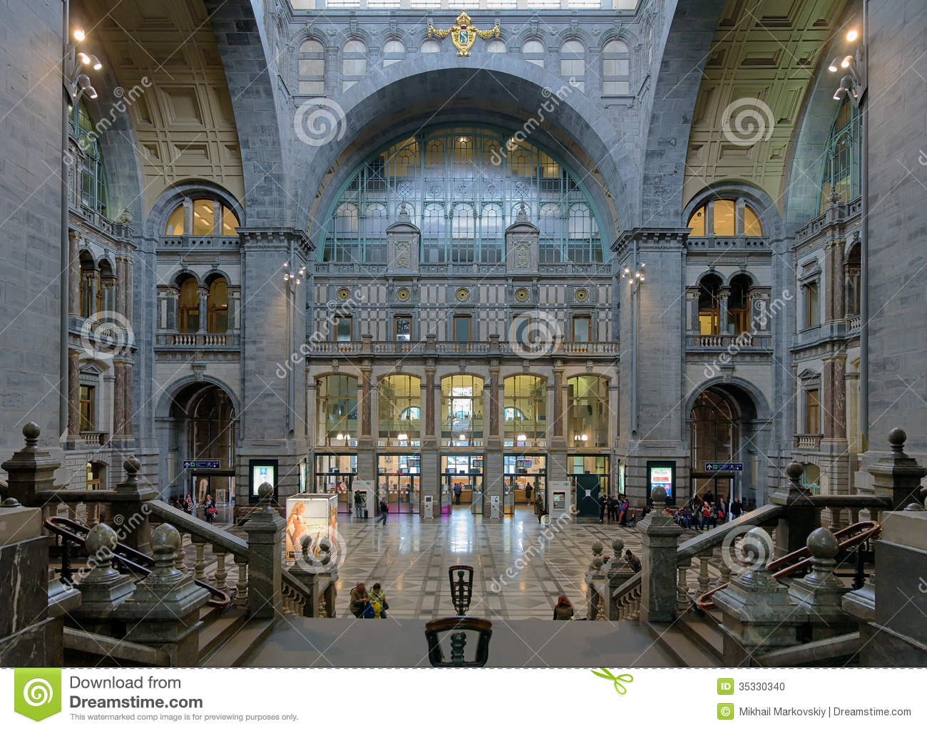 Entrance Hall Of The Antwerp Central Train Station Editorial Image.