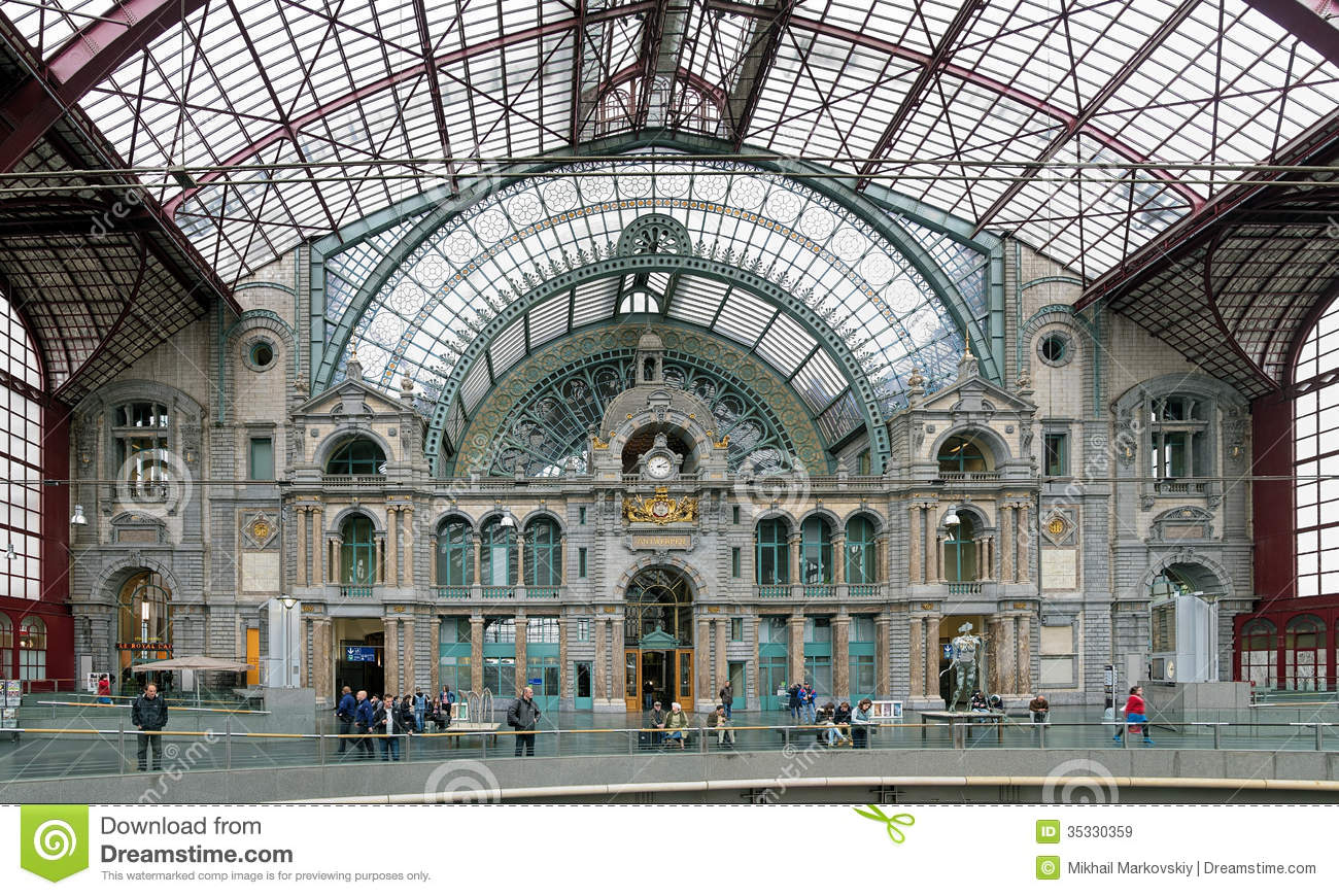 Internal Facade Of The Antwerp Central Train Station Editorial.