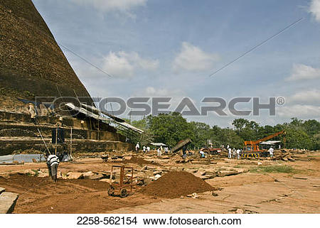 Stock Photo of Archaeological dig site at a stupa, Abhayagiri.