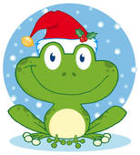 Clipart of Outlined Smiling Frog k5914203.