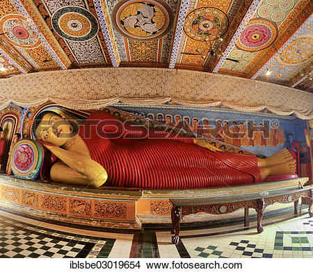 "Stock Photo of ""Reclining Buddha in Isurumuniya Rock Temple."