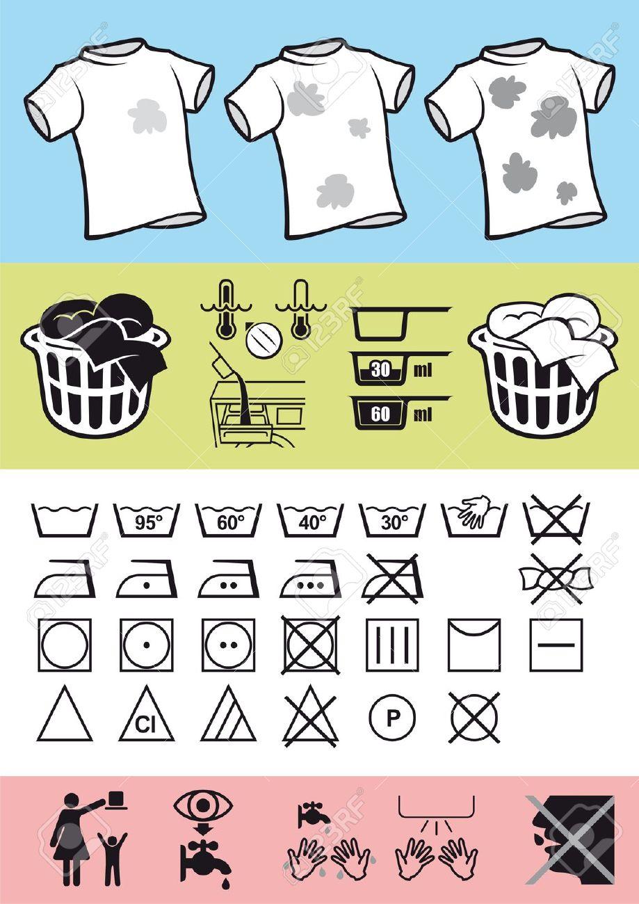 Bild Symboler På Kläder För Att Hjälpa Korrekt Användning Av.