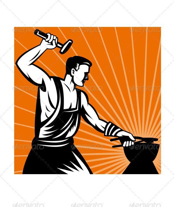 Blacksmith Holding Hammer with Anvil.