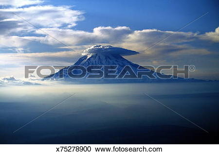 Stock Photography of USA, Washington State, anvil cloud on Mount.