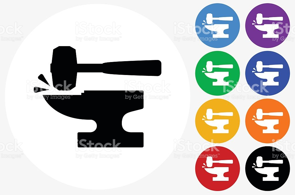 Blacksmith Anvil Lump Hammer Icon On Flat Color Circle Butto stock.