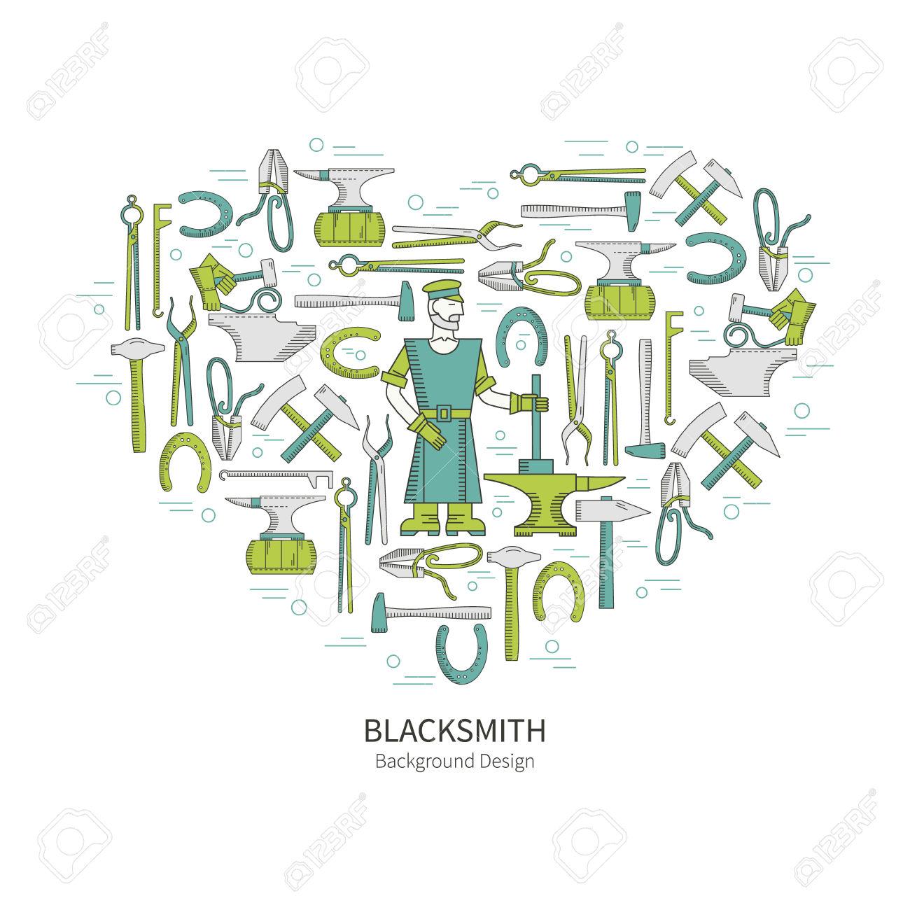 Linear Vector Icons Blacksmith.
