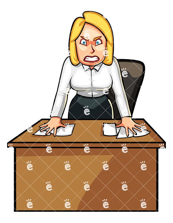 Angry Business Woman Standing Angrily Behind Her Desk.