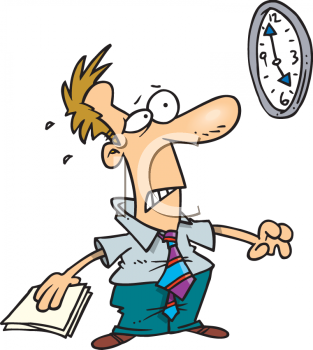 Royalty Free Clip Art Image: Anxious Man Trying to Meet a Deadline.