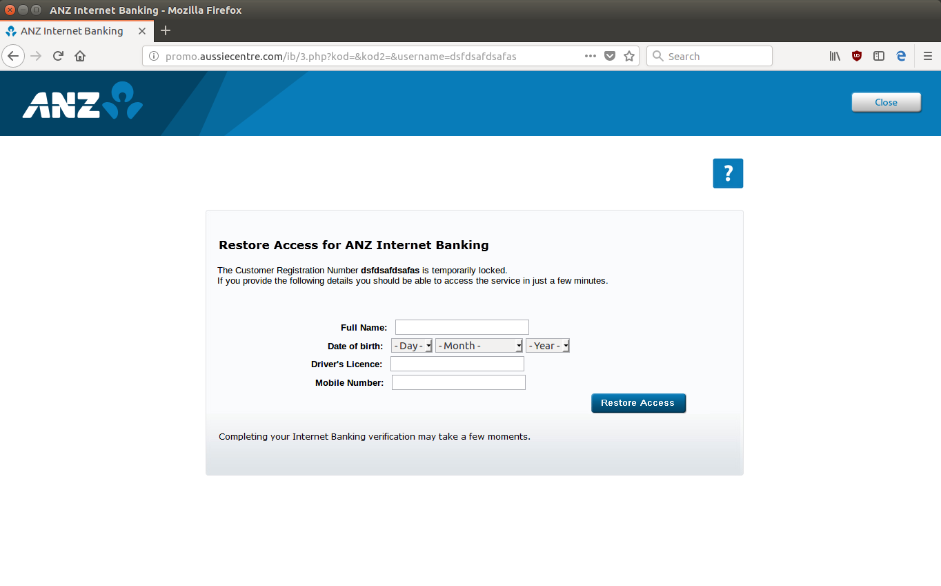ANZ Scam Aims to Steal Internet Banking Credentials.