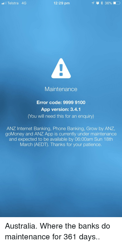 All Telstra 4G 1229 Pm Maintenance Error Code 9999 9100 App Version.