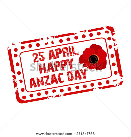 25 April Happy Anzac Day Stamp.