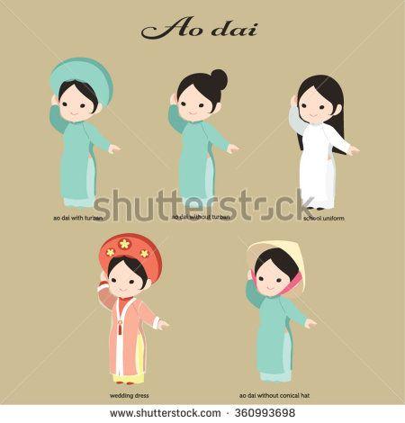 Vector Ao dai. Vietnamese Long dress. Asian conical hat.