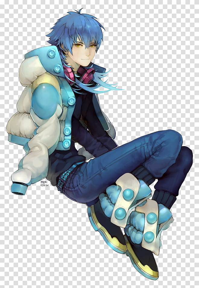 Aoba, blue haired male anime character wearing down jacket.