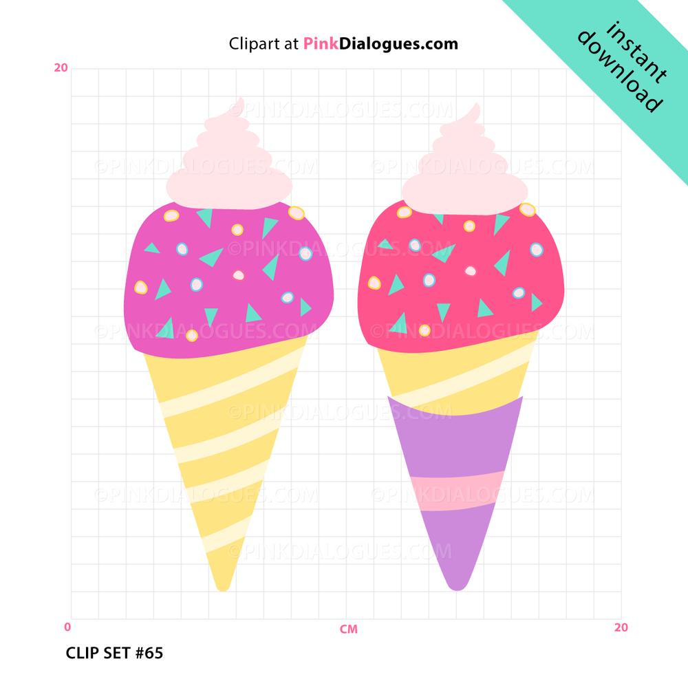 Summer IceCream Clipart (Vector).