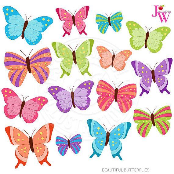 Beautiful Butterflies Cute Digital Clipart, Butterfly Clip.