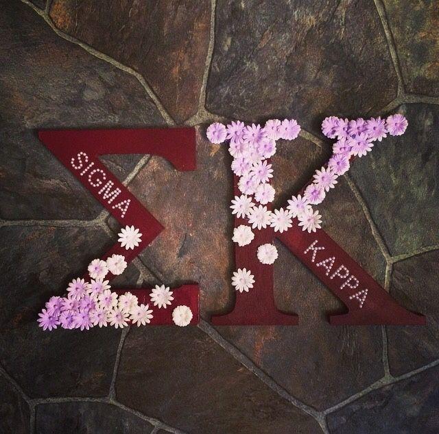mini sigma kappa letters with rhinestones. phi sigma kappa.