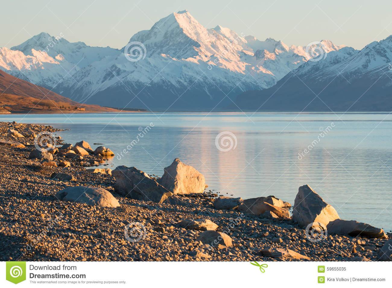 Iconic Mountain Of New Zealand Mt. Cook / Aoraki At Sunrise Stock.