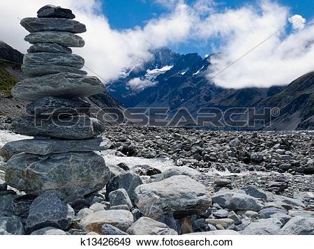 Stock Photograph of Rock cairn in Hooker Valley near Aoraki Mt.