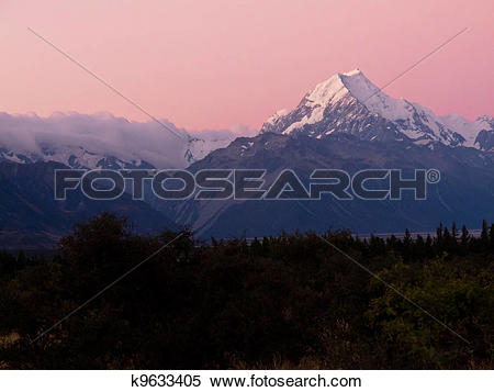 Stock Image of Aoraki, Mt Cook highest peak of Southern Alps, NZ.