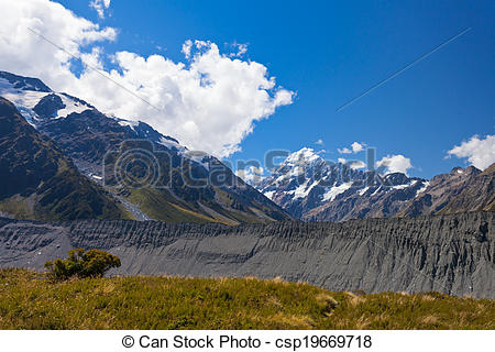 Stock Photography of Glacial moraine Aoraki Mt Cook Hooker valley.