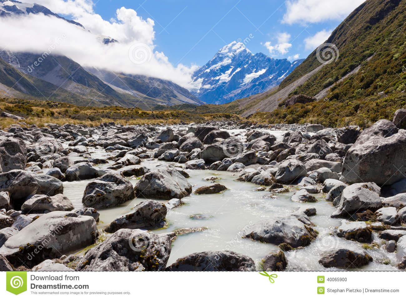 Aoraki Mount Cook Valley Southern Alps NZ Stock Photo.