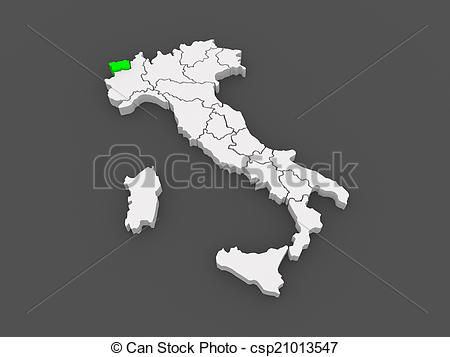 Drawing of Map of Valle d'Aosta. Italy. 3d csp21013547.