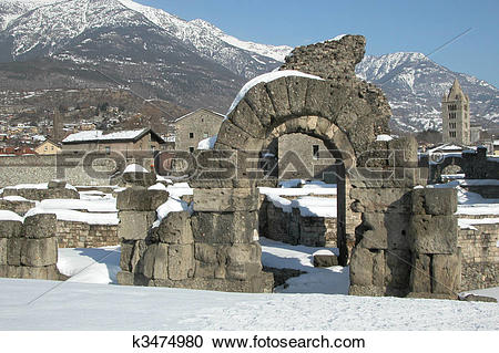 Stock Photography of Roman Theatre, Aosta k3474980.