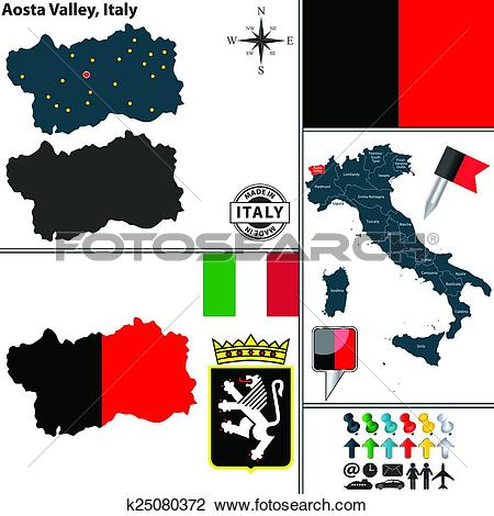 Clipart of Map of Aosta Valley, Italy k25080372.