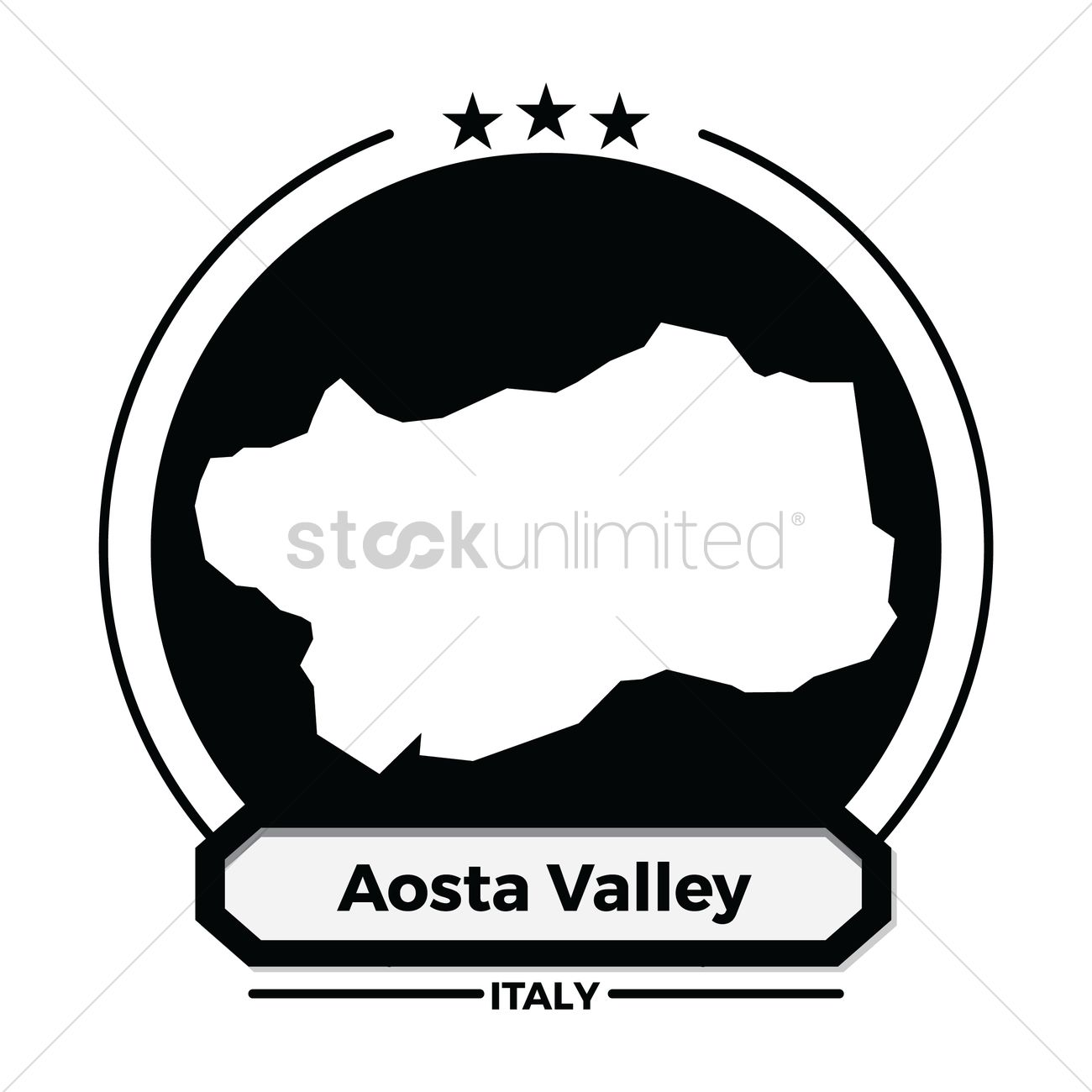 Aosta valley map label Vector Image.