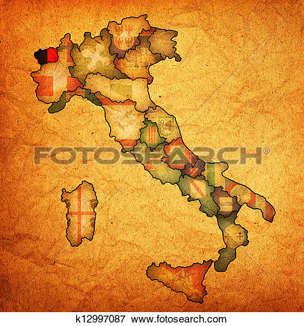 Stock Illustration of map of italy with aosta valley region.