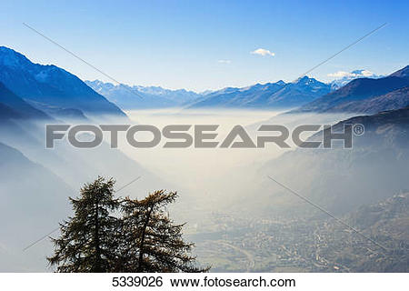Stock Images of Smog in Aosta Valley and Mont Blanc; Italy 5339026.