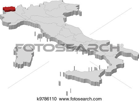 Clipart of Map of Italy, Aosta Valley highlighted k9786110.