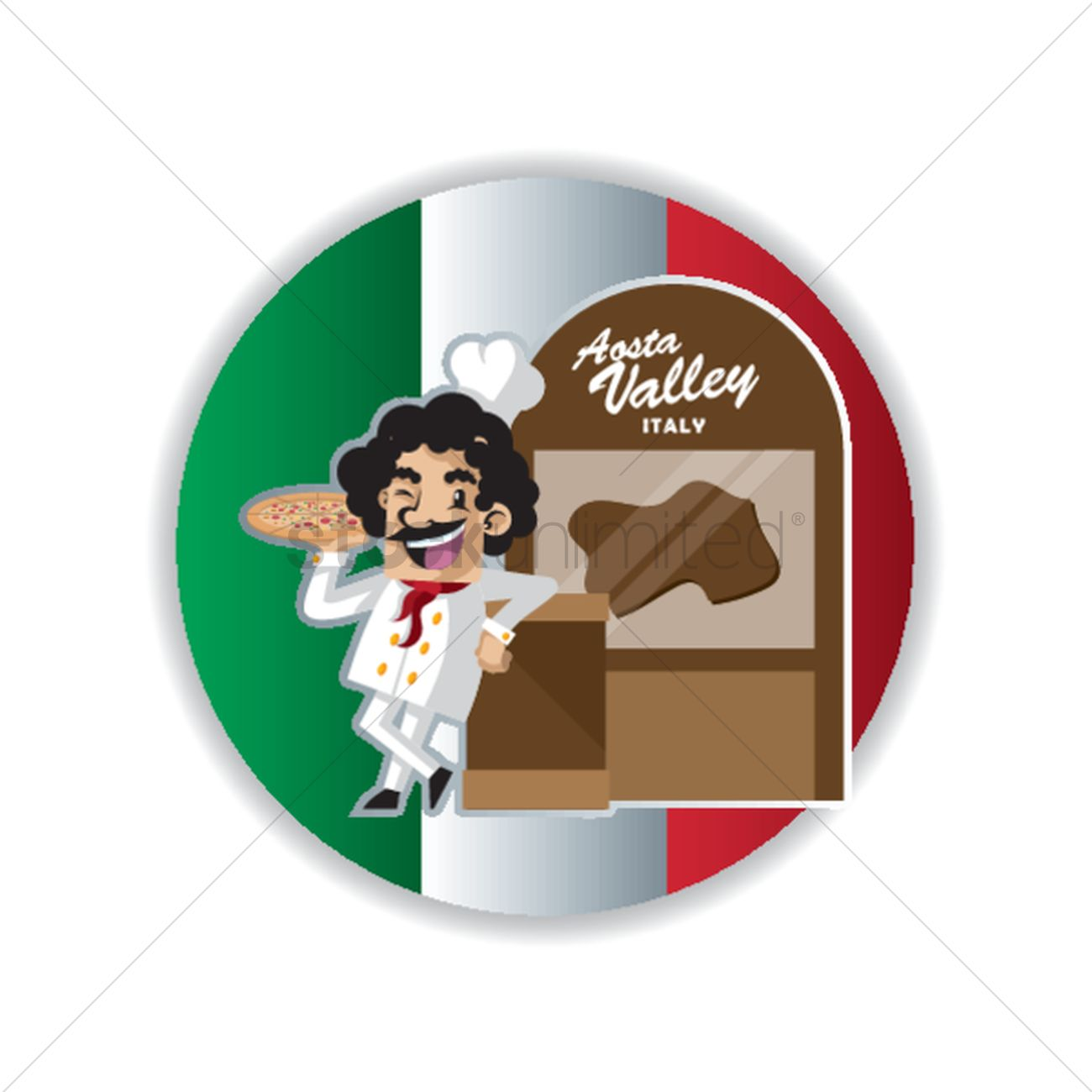 Aosta valley map with chef Vector Image.
