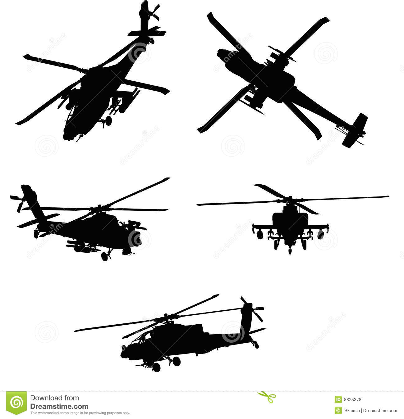 Apache Helicopter Stock Illustrations.