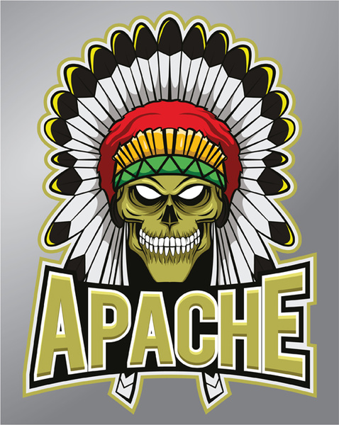 Vintage apache logo vector Free vector in Encapsulated.