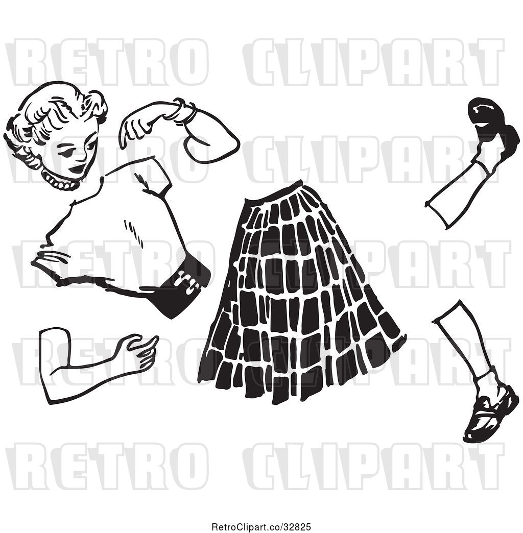 Vector Clip Art of Retro Teenage Teenage Girl Split Apart by.